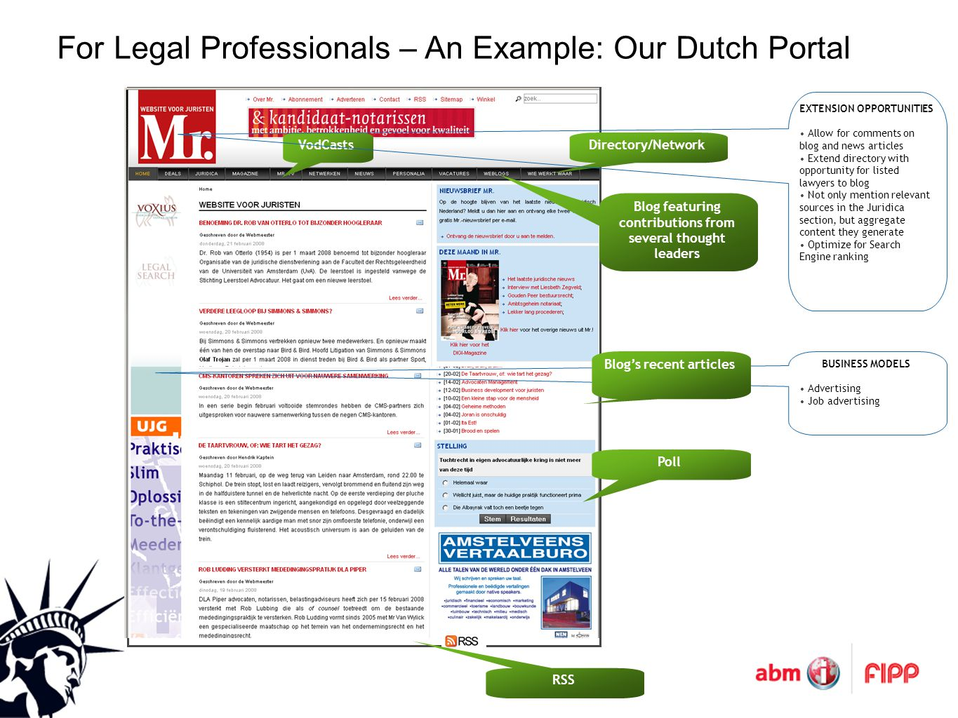 For Legal Professionals – An Example: Our Dutch Portal Poll VodCastsDirectory/Network RSS Blog featuring contributions from several thought leaders EXTENSION OPPORTUNITIES Allow for comments on blog and news articles Extend directory with opportunity for listed lawyers to blog Not only mention relevant sources in the Juridica section, but aggregate content they generate Optimize for Search Engine ranking BUSINESS MODELS Advertising Job advertising Blog's recent articles