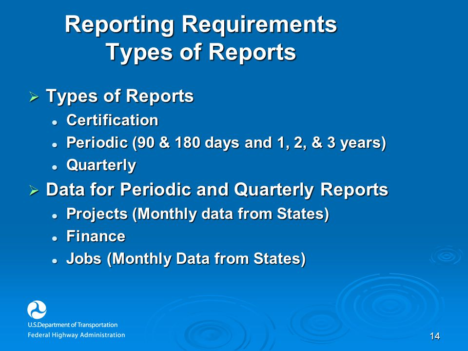 14 Reporting Requirements Types of Reports  Types of Reports Certification Certification Periodic (90 & 180 days and 1, 2, & 3 years) Periodic (90 &