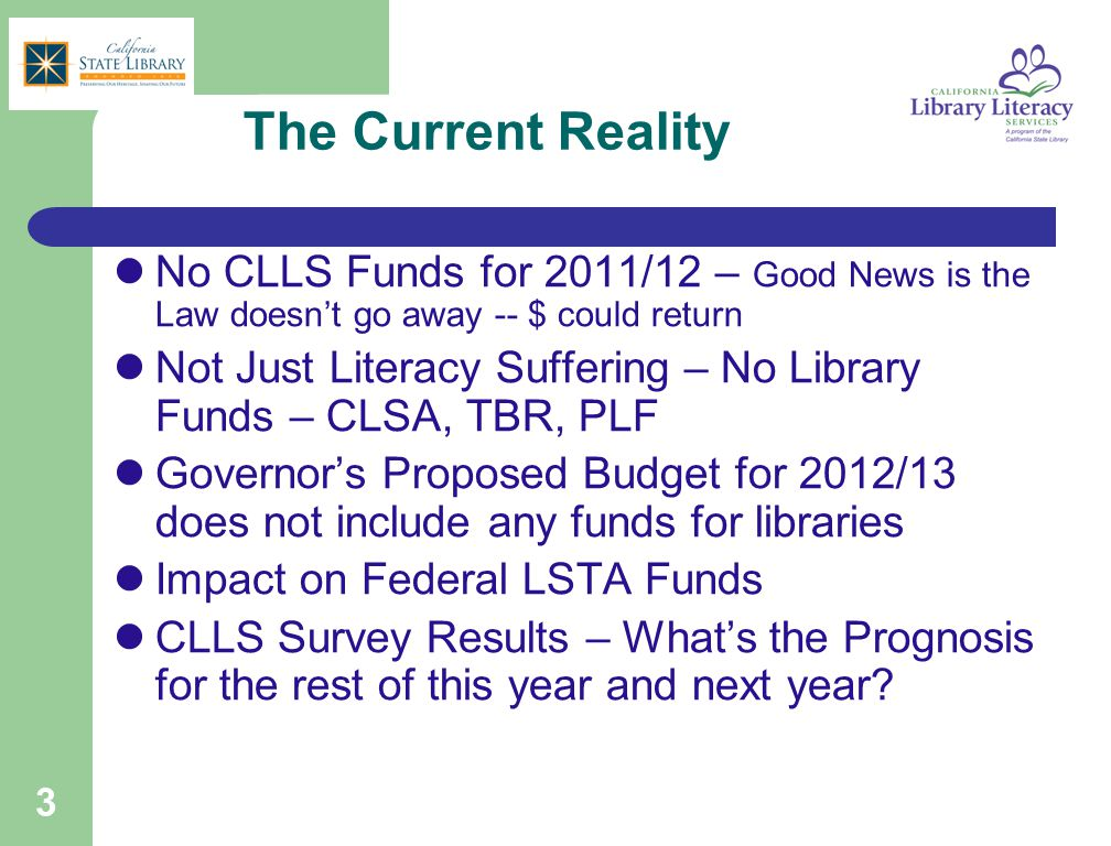 3 The Current Reality No CLLS Funds for 2011/12 – Good News is the Law doesn't go away -- $ could return Not Just Literacy Suffering – No Library Fund