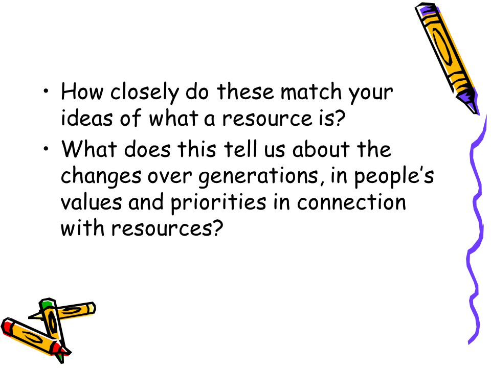 How closely do these match your ideas of what a resource is.