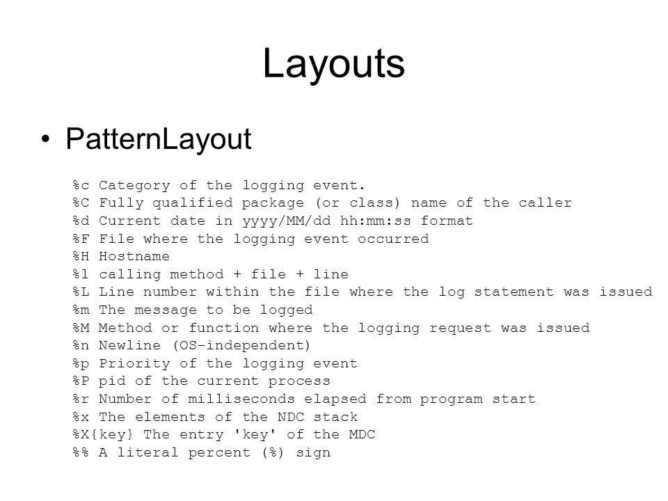 Layouts PatternLayout %c Category of the logging event.