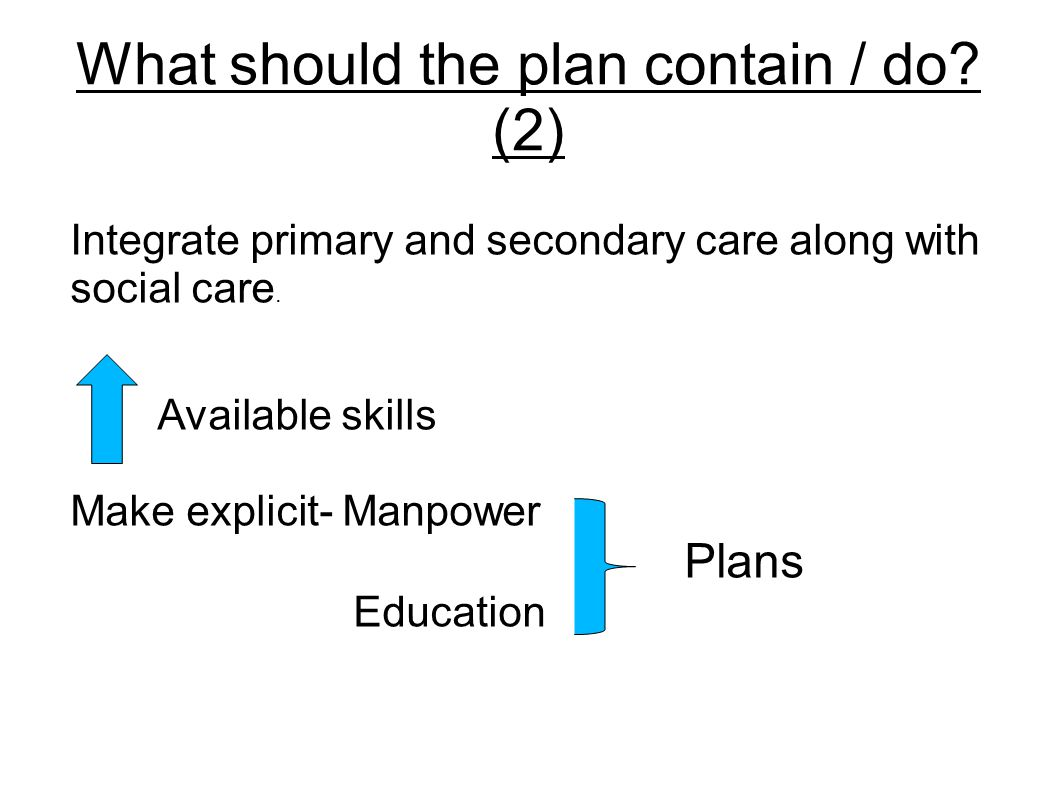 What should the plan contain / do. (2) Integrate primary and secondary care along with social care.