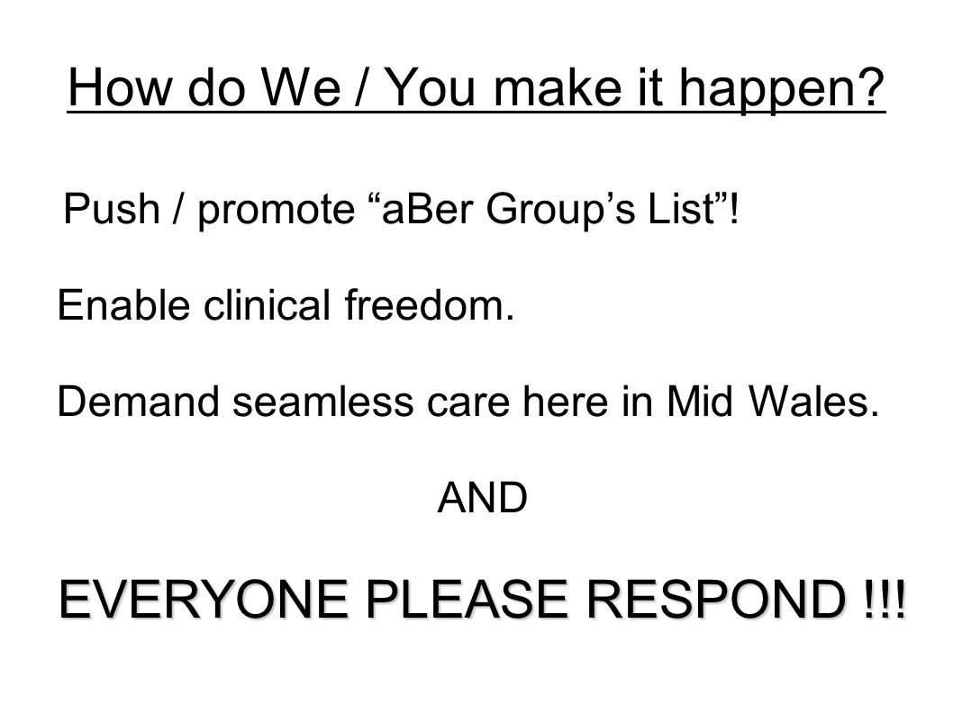 How do We / You make it happen. Push / promote aBer Group's List .