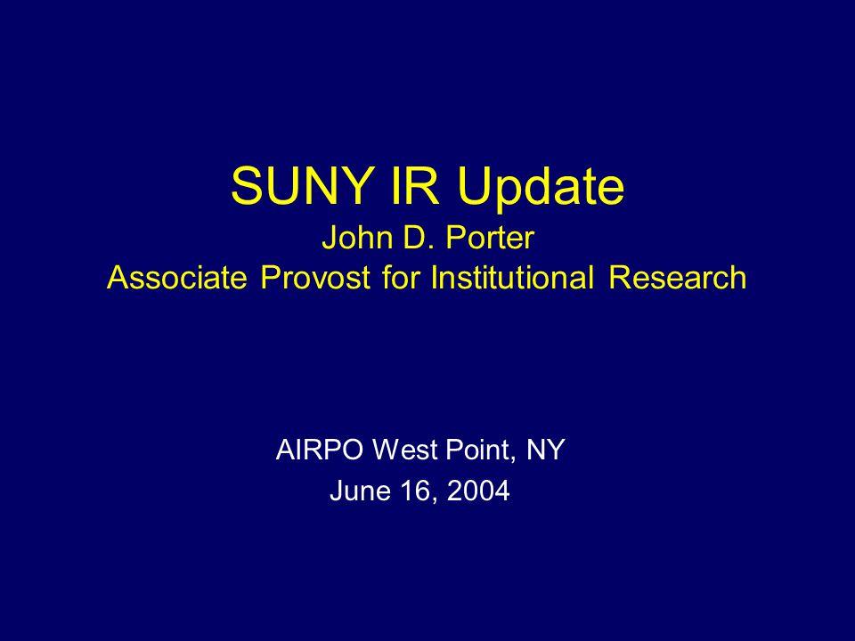 SUNY IR Update John D.