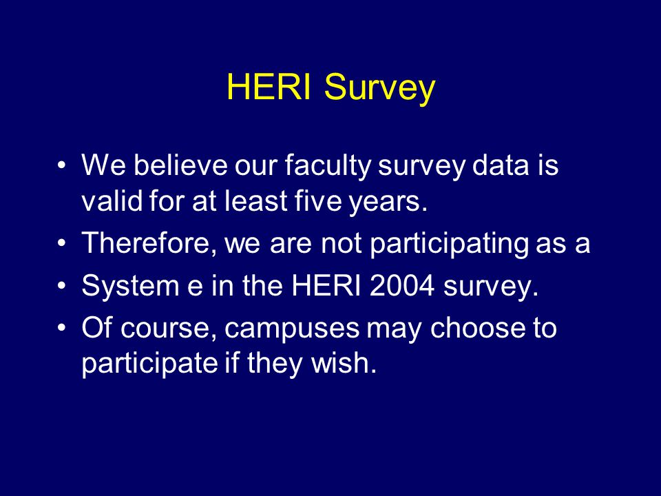 HERI Survey We believe our faculty survey data is valid for at least five years.