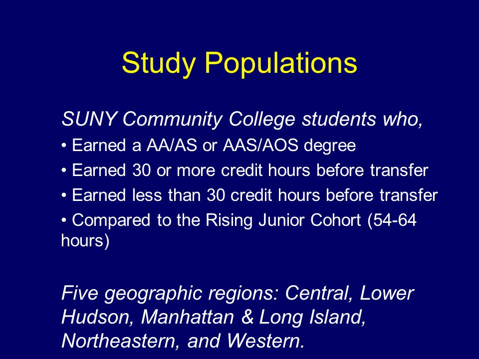 Study Populations SUNY Community College students who, Earned a AA/AS or AAS/AOS degree Earned 30 or more credit hours before transfer Earned less than 30 credit hours before transfer Compared to the Rising Junior Cohort (54-64 hours) Five geographic regions: Central, Lower Hudson, Manhattan & Long Island, Northeastern, and Western.