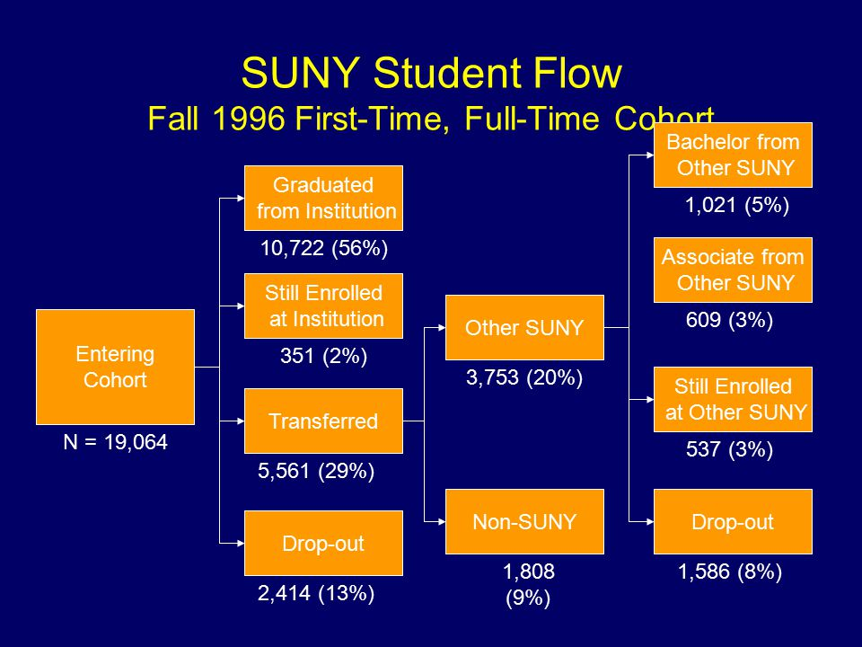 SUNY Student Flow Fall 1996 First-Time, Full-Time Cohort Entering Cohort Graduated from Institution Still Enrolled at Institution Transferred Drop-out Other SUNY Non-SUNY Bachelor from Other SUNY Still Enrolled at Other SUNY Drop-out N = 19,064 10,722 (56%) 351 (2%) 2,414 (13%) 1,808 (9%) 3,753 (20%) 537 (3%) 1,586 (8%) 1,021 (5%) 5,561 (29%) Associate from Other SUNY 609 (3%)
