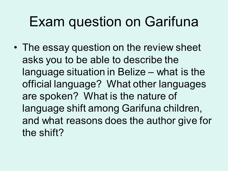 Exam question on Garifuna The essay question on the review sheet asks you to be able to describe the language situation in Belize – what is the offici