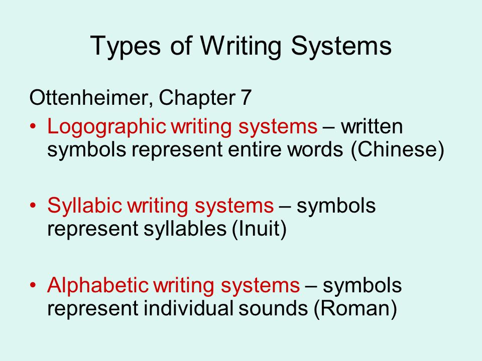 Types of Writing Systems Ottenheimer, Chapter 7 Logographic writing systems – written symbols represent entire words (Chinese) Syllabic writing systems – symbols represent syllables (Inuit) Alphabetic writing systems – symbols represent individual sounds (Roman)