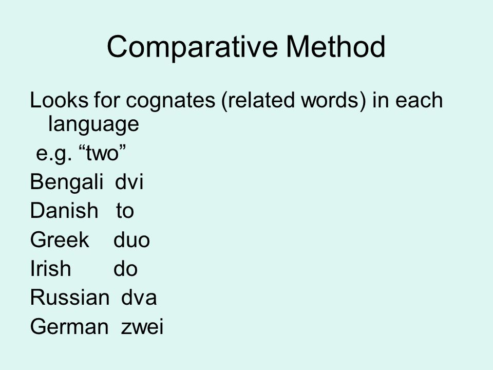 "Comparative Method Looks for cognates (related words) in each language e.g. ""two"" Bengali dvi Danish to Greek duo Irish do Russian dva German zwei"