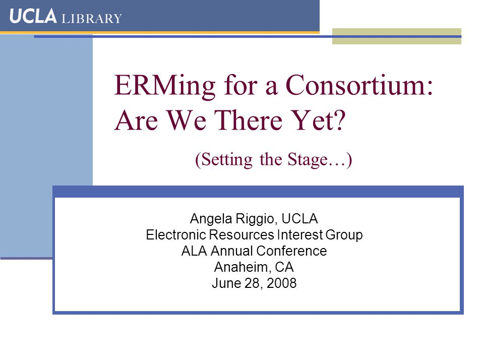 ERMing for a Consortium: Are We There Yet.