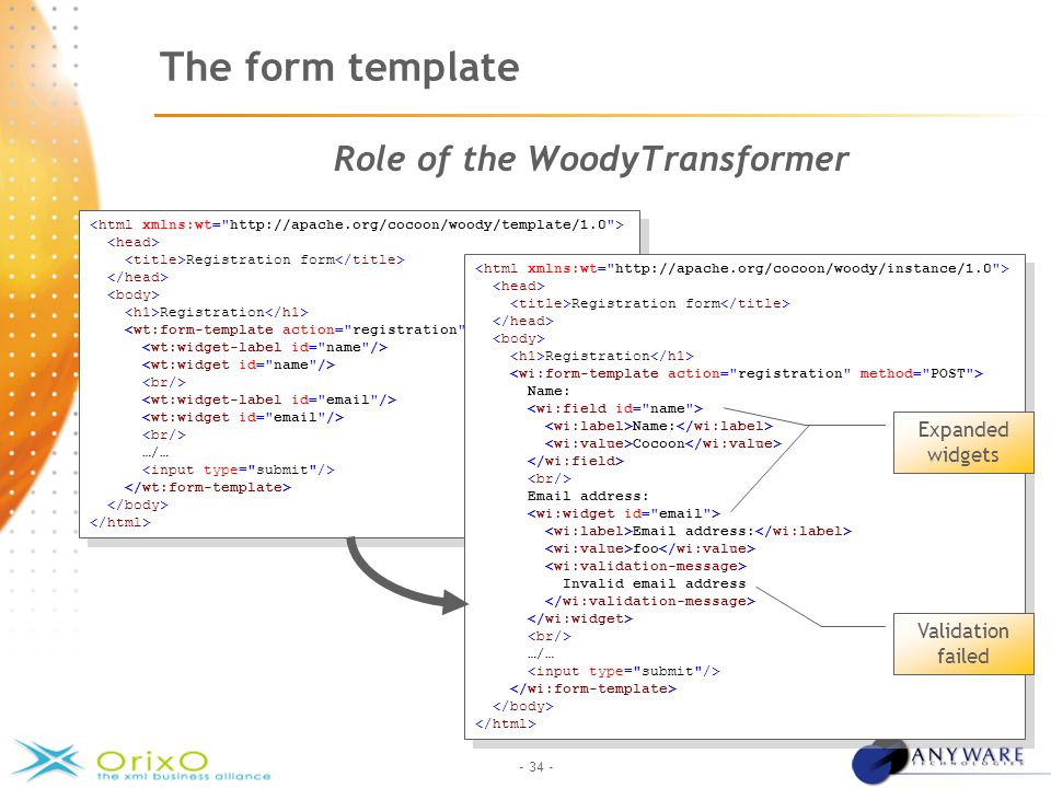 - 34 - The form template Role of the WoodyTransformer Registration form Registration …/… Registration form Registration …/… Registration form Registration Name: Name: Cocoon Email address: Email address: foo Invalid email address …/… Registration form Registration Name: Name: Cocoon Email address: Email address: foo Invalid email address …/… Validation failed Expanded widget Expanded widgets