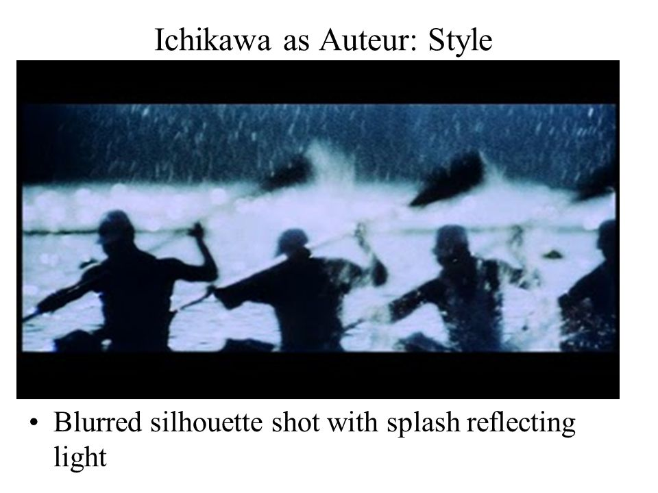Ichikawa as Auteur: Style Blurred silhouette shot with splash reflecting light