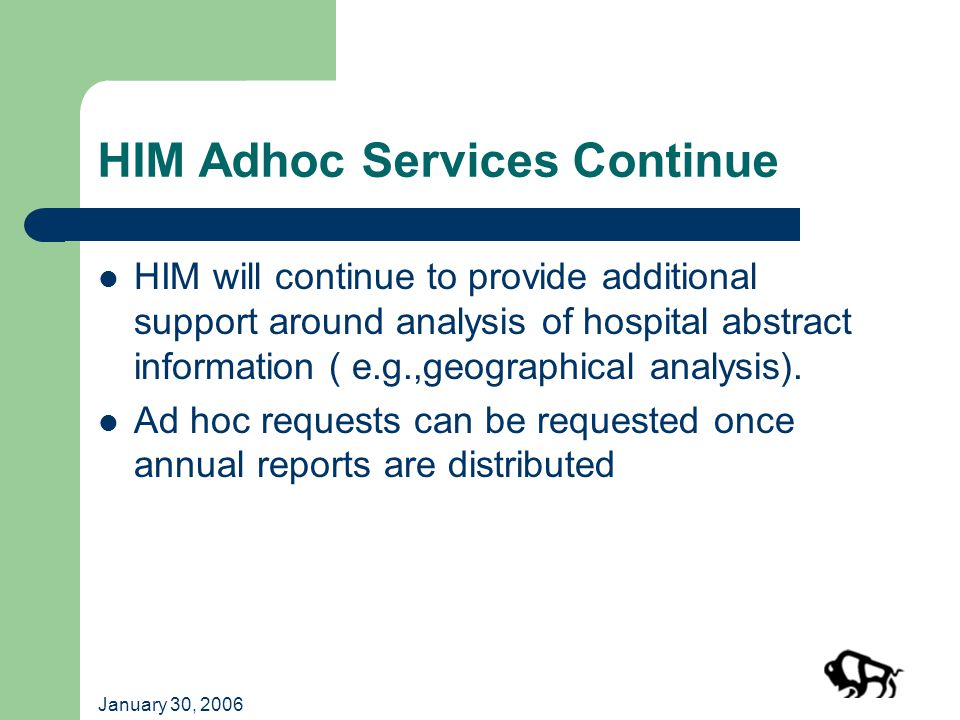 January 30, 2006 HIM Adhoc Services Continue HIM will continue to provide additional support around analysis of hospital abstract information ( e.g.,geographical analysis).