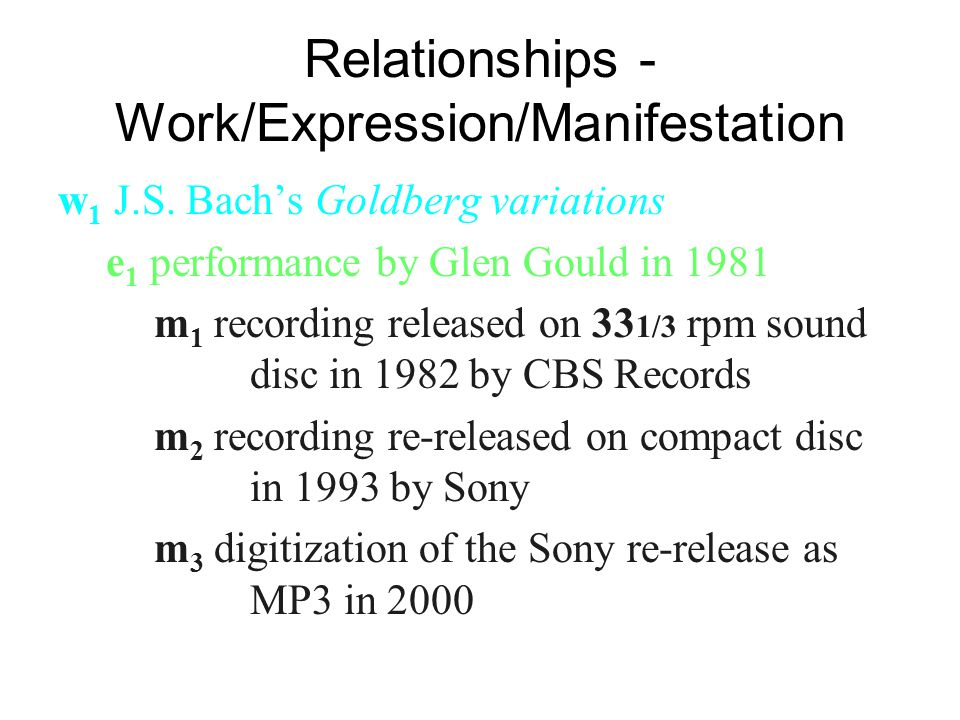 Relationships - Work/Expression/Manifestation w 1 J.S. Bach's Goldberg variations e 1 performance by Glen Gould in 1981 m 1 recording released on 33 1