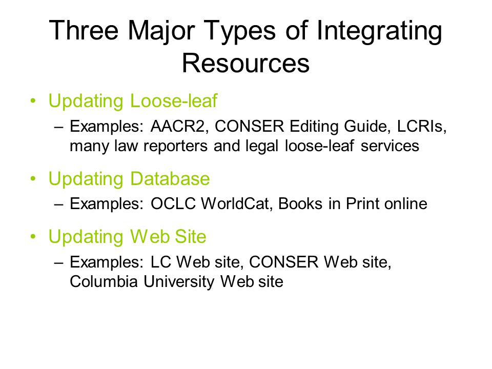 Three Major Types of Integrating Resources Updating Loose-leaf –Examples: AACR2, CONSER Editing Guide, LCRIs, many law reporters and legal loose-leaf services Updating Database –Examples: OCLC WorldCat, Books in Print online Updating Web Site –Examples: LC Web site, CONSER Web site, Columbia University Web site
