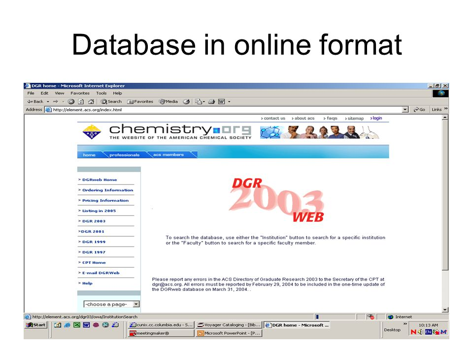 Database in online format