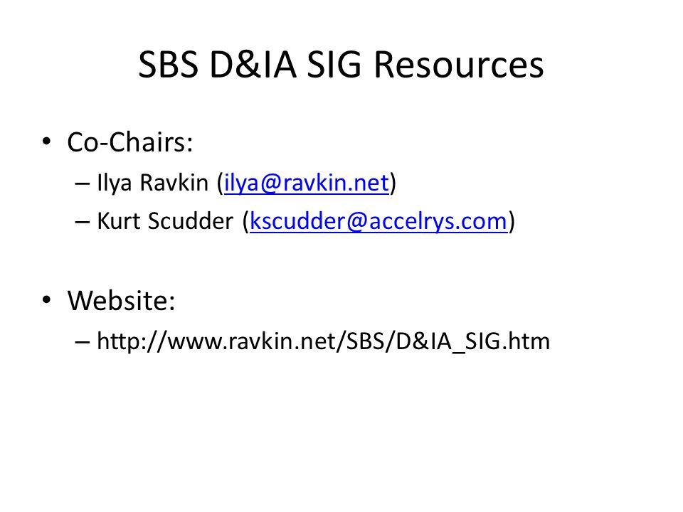 SBS D&IA SIG Resources Co-Chairs: – Ilya Ravkin (ilya@ravkin.net)ilya@ravkin.net – Kurt Scudder (kscudder@accelrys.com)kscudder@accelrys.com Website: – http://www.ravkin.net/SBS/D&IA_SIG.htm