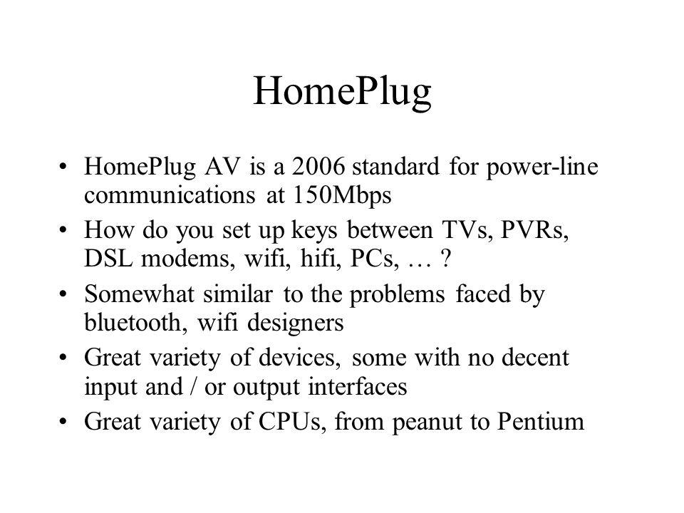 HomePlug HomePlug AV is a 2006 standard for power-line communications at 150Mbps How do you set up keys between TVs, PVRs, DSL modems, wifi, hifi, PCs