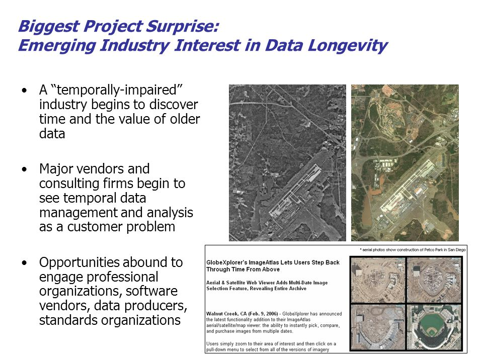 A temporally-impaired industry begins to discover time and the value of older data Major vendors and consulting firms begin to see temporal data management and analysis as a customer problem Opportunities abound to engage professional organizations, software vendors, data producers, standards organizations Biggest Project Surprise: Emerging Industry Interest in Data Longevity