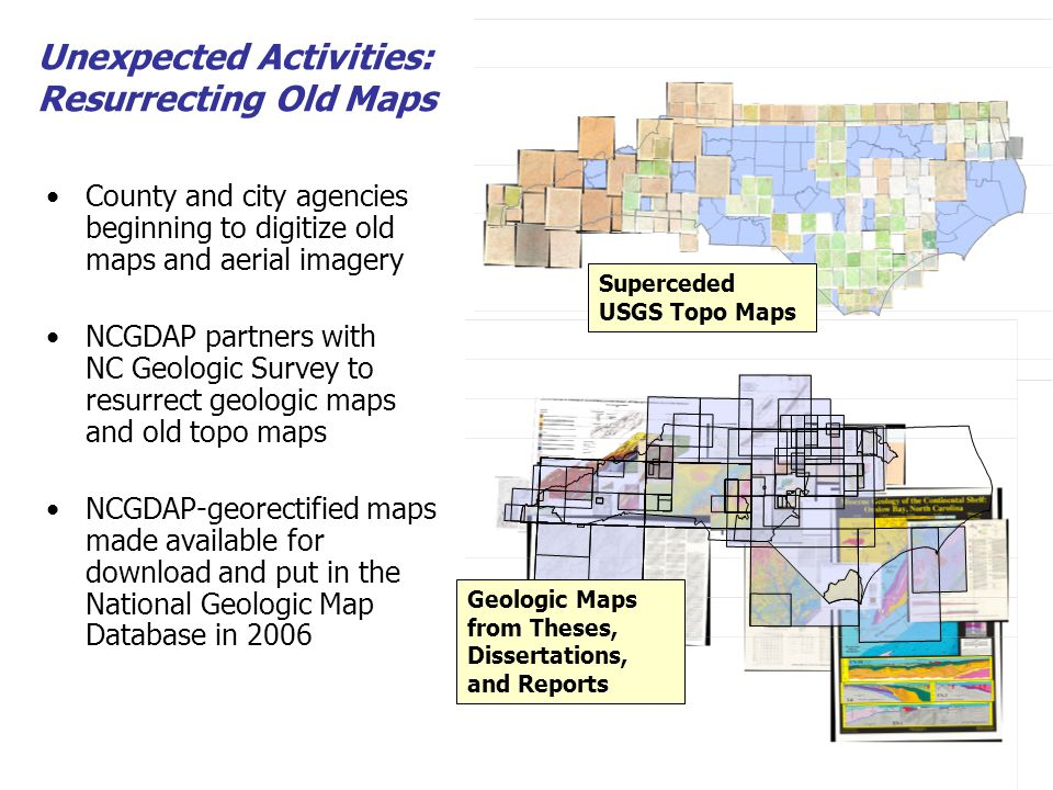 Survey indicates that 20 state agencies are asking for local geodata Contact fatigue among local agencies – in response state/local/ federal data exchange partnerships emerge Leveraging more compelling business reasons to put the data in motion Unexpected Activities: Partnering in Content Exchange Networks Orthophoto sneakernet system Started fall 2006 Transportation data exchange system Funded starting fall 2006 Ongoing statewide data inventory Started March 2006
