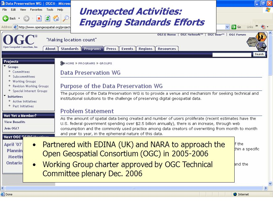 Unexpected Activities: Developing Ingest Workflow Tools Developed a set of Python classes for threat scanning, copy, item formation, and ingest object creation Developed a set of ArcGIS tools for format conversion Repository ingest approach gets inspiration from ECHO DEPository hub-and-spoke model