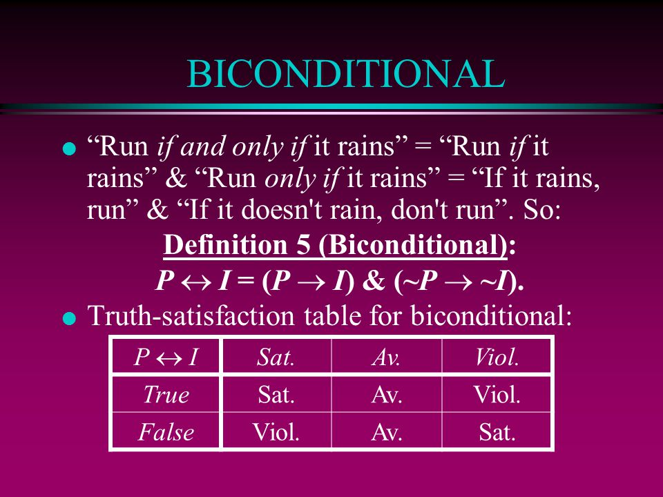 BICONDITIONAL l Run if and only if it rains = Run if it rains & Run only if it rains = If it rains, run & If it doesn t rain, don t run .