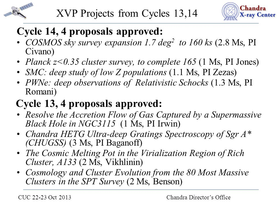 CUC 22-23 Oct 2013 Chandra Director's Office XVP Projects from Cycles 13,14 Cycle 14, 4 proposals approved: COSMOS sky survey expansion 1.7 deg 2 to 1