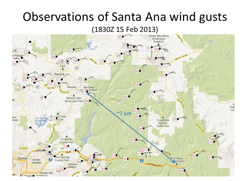 Observations of Santa Ana wind gusts (1830Z 15 Feb 2013) ~7 km