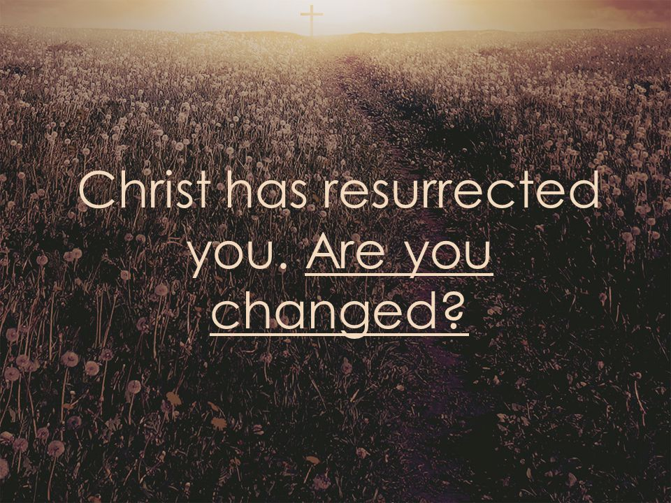 Christ has resurrected you. Are you changed?