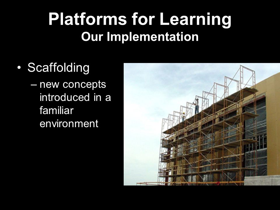 Platforms for Learning Our Implementation Scaffolding –new concepts introduced in a familiar environment