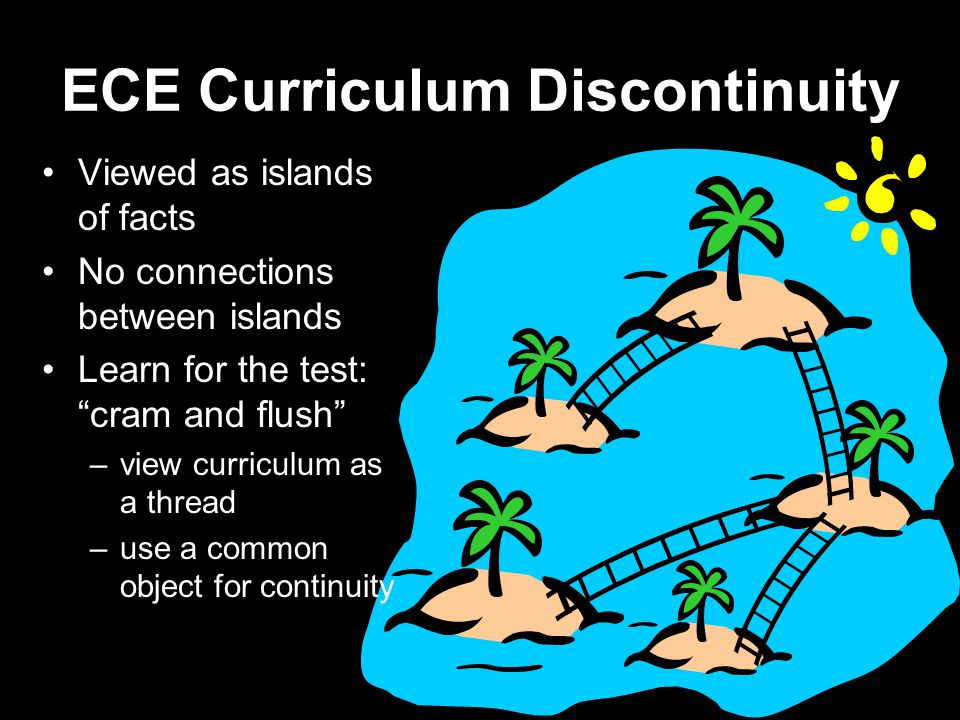 ECE Curriculum Discontinuity Viewed as islands of facts No connections between islands Learn for the test: cram and flush –view curriculum as a thread –use a common object for continuity