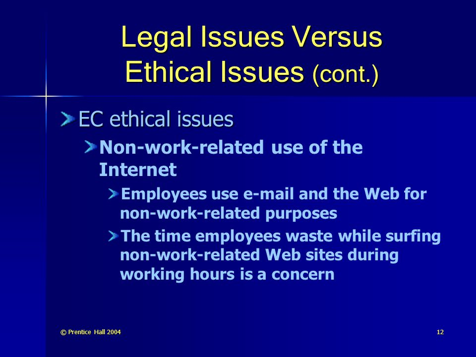 © Prentice Hall 200412 Legal Issues Versus Ethical Issues (cont.) EC ethical issues Non-work-related use of the Internet Employees use e-mail and the Web for non-work-related purposes The time employees waste while surfing non-work-related Web sites during working hours is a concern