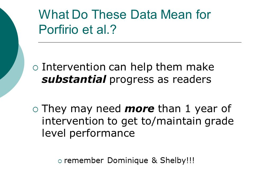 What Do These Data Mean for Porfirio et al..
