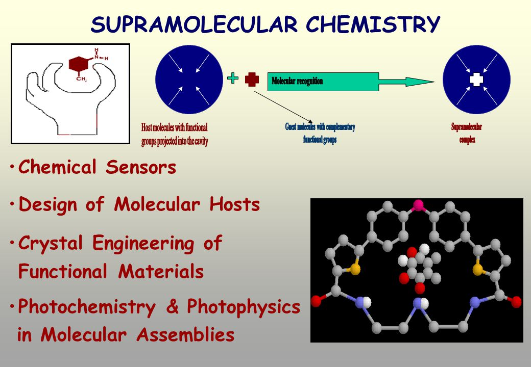 SUPRAMOLECULAR CHEMISTRY Chemical Sensors Design of Molecular Hosts Crystal Engineering of Functional Materials Photochemistry & Photophysics in Molecular Assemblies