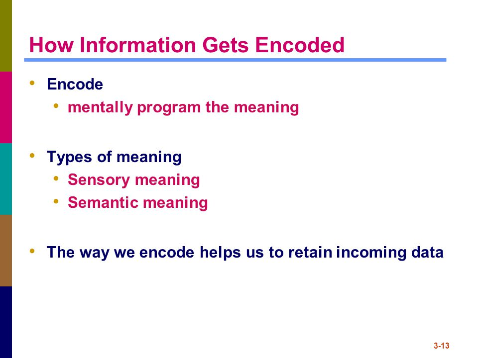 3-13 How Information Gets Encoded Encode mentally program the meaning Types of meaning Sensory meaning Semantic meaning The way we encode helps us to