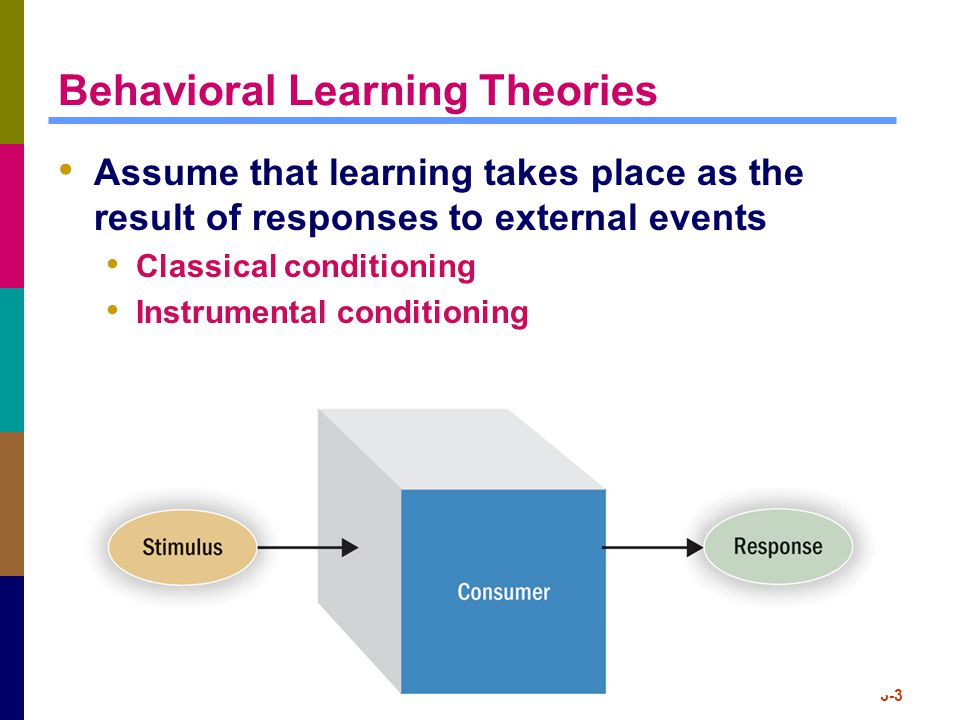 3-3 Behavioral Learning Theories Assume that learning takes place as the result of responses to external events Classical conditioning Instrumental co