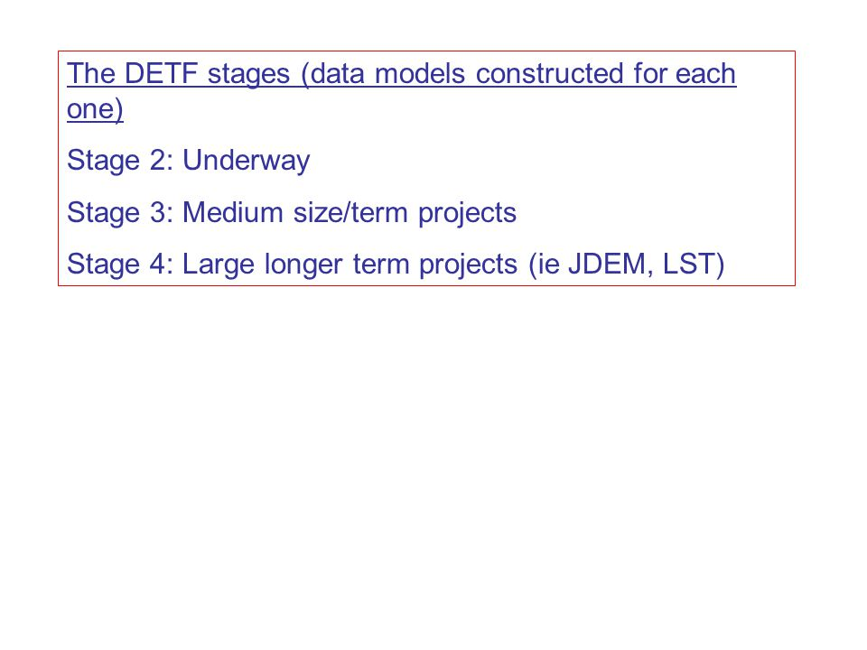 The DETF stages (data models constructed for each one) Stage 2: Underway Stage 3: Medium size/term projects Stage 4: Large longer term projects (ie JDEM, LST)