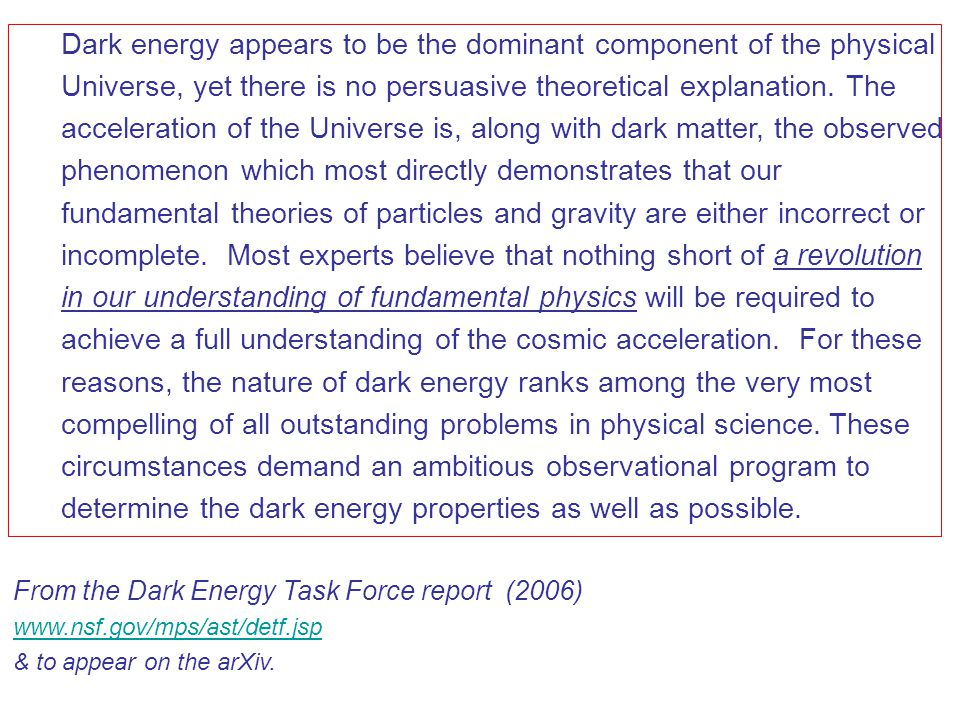 Dark energy appears to be the dominant component of the physical Universe, yet there is no persuasive theoretical explanation.