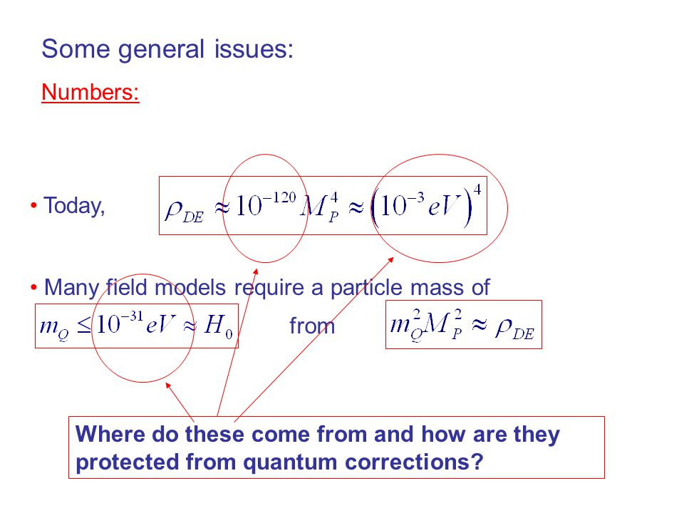 Today, Many field models require a particle mass of Some general issues: Numbers: from Where do these come from and how are they protected from quantum corrections