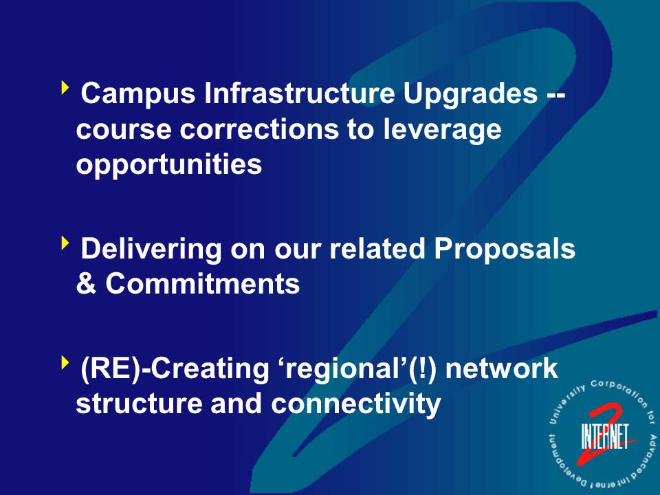  Campus Infrastructure Upgrades -- course corrections to leverage opportunities  Delivering on our related Proposals & Commitments  (RE)-Creating 'regional'(!) network structure and connectivity