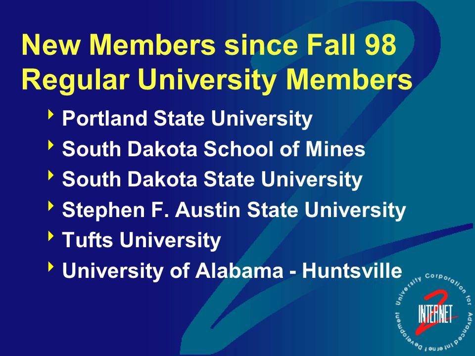 New Members since Fall 98 Regular University Members  Portland State University  South Dakota School of Mines  South Dakota State University  Stephen F.