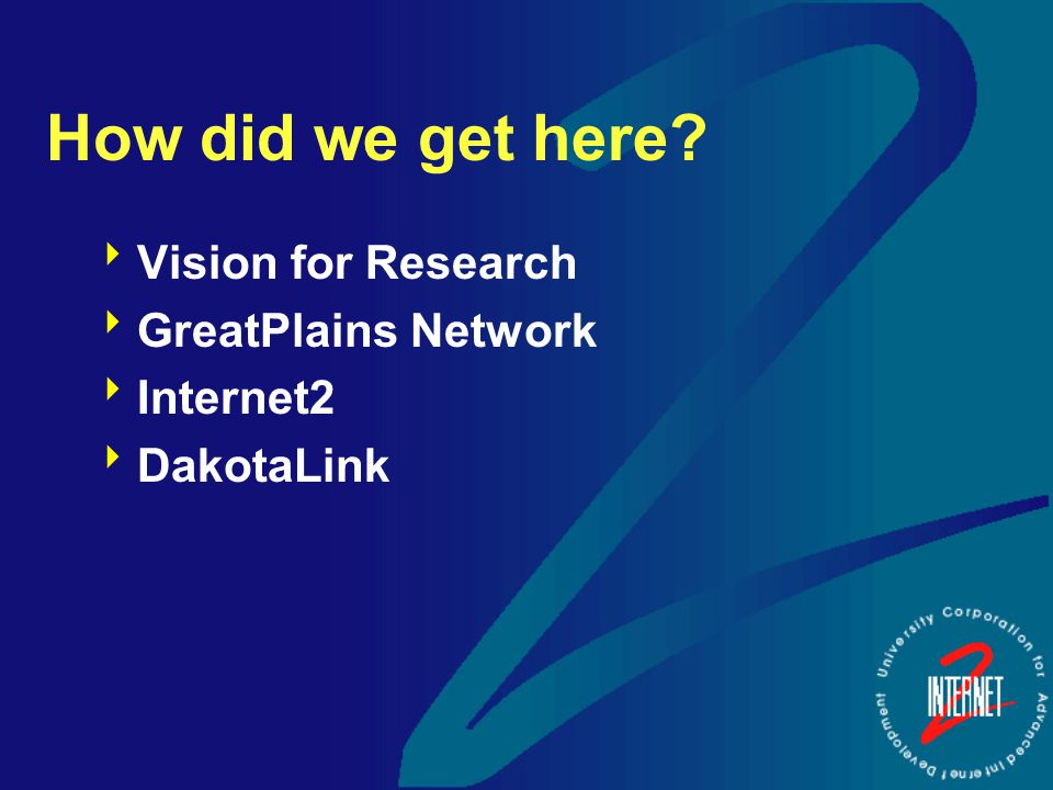 How did we get here  Vision for Research  GreatPlains Network  Internet2  DakotaLink
