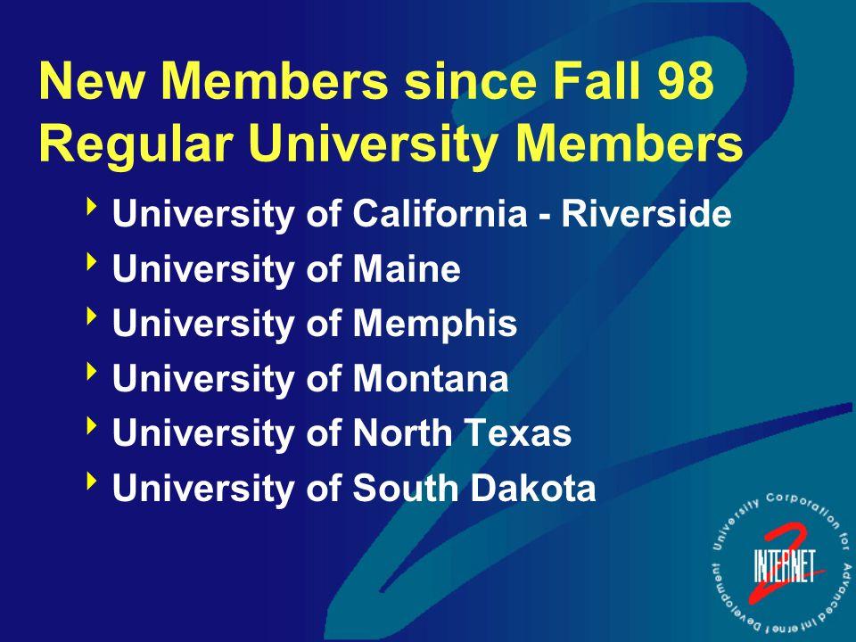 New Members since Fall 98 Regular University Members  University of California - Riverside  University of Maine  University of Memphis  University of Montana  University of North Texas  University of South Dakota