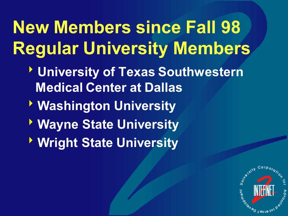 New Members since Fall 98 Regular University Members  University of Texas Southwestern Medical Center at Dallas  Washington University  Wayne State University  Wright State University