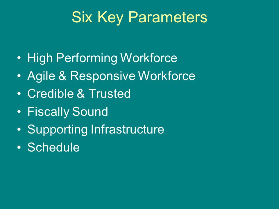 Six Key Parameters High Performing Workforce Agile & Responsive Workforce Credible & Trusted Fiscally Sound Supporting Infrastructure Schedule