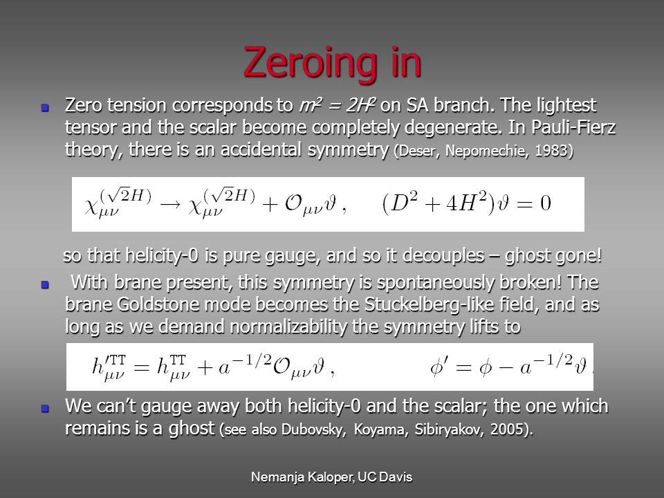 Nemanja Kaloper, UC Davis Zeroing in Zero tension corresponds to m 2 = 2H 2 on SA branch.
