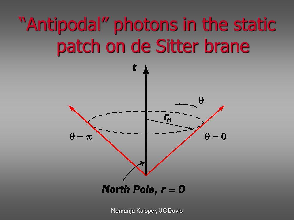 Nemanja Kaloper, UC Davis Antipodal'' photons in the static patch on de Sitter brane