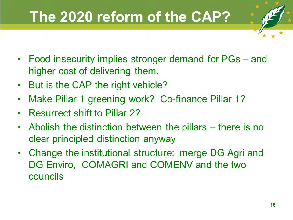 The 2020 reform of the CAP.