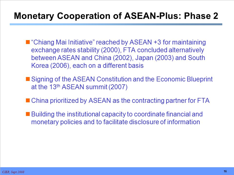 "CIER, Sept 2008 16 Monetary Cooperation of ASEAN-Plus: Phase 2 ""Chiang Mai Initiative"" reached by ASEAN +3 for maintaining exchange rates stability (2"